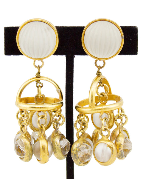 Frosted Glass Gilt Metal Pendant Earrings