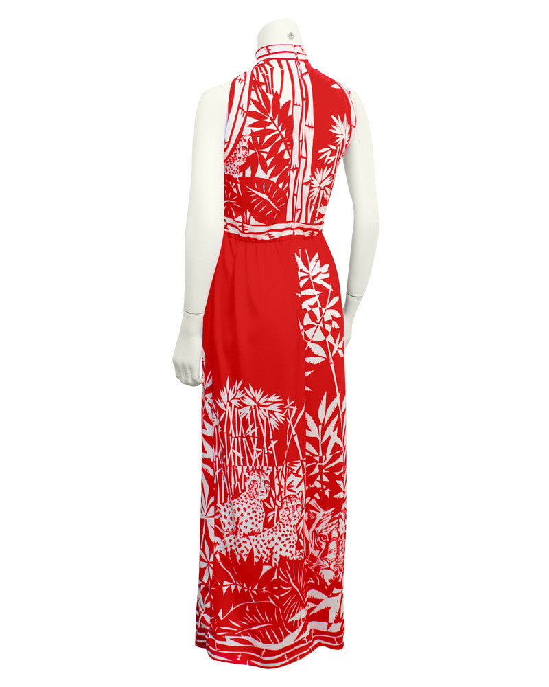 Red & White Bamboo Print Gown