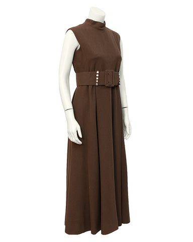 Brown Mock Turtleneck Dress with Belt