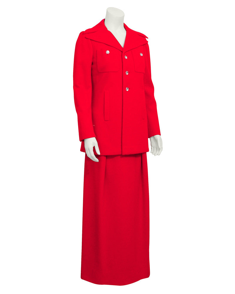 Red gown & coat ensemble