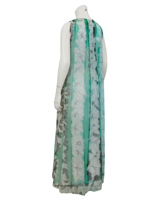Green and Grey Chiffon gown