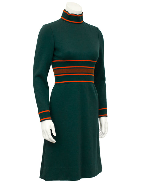 Green Knit Dress with Orange Details