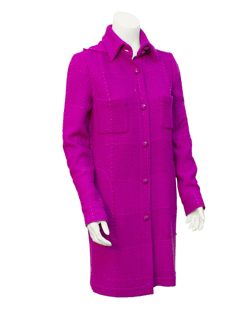 Fuchsia Wool Hooded coat