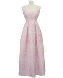 Pink Gown with White Bubble Print Brocade
