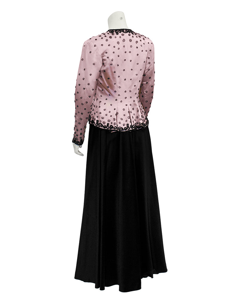 Black Satin Gown with Pink Beaded Jacket