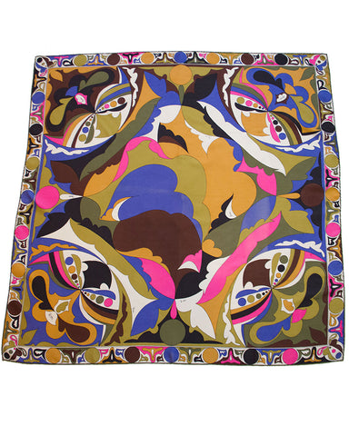 Brown, Pink and Forest Green Printed Silk Scarf