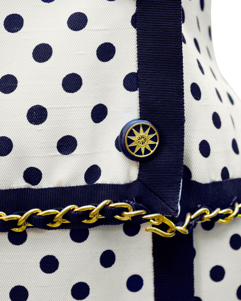 Cream & navy Silk Polka dot Skirt Suit