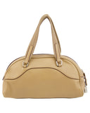 Beige Leather Bowling Bag