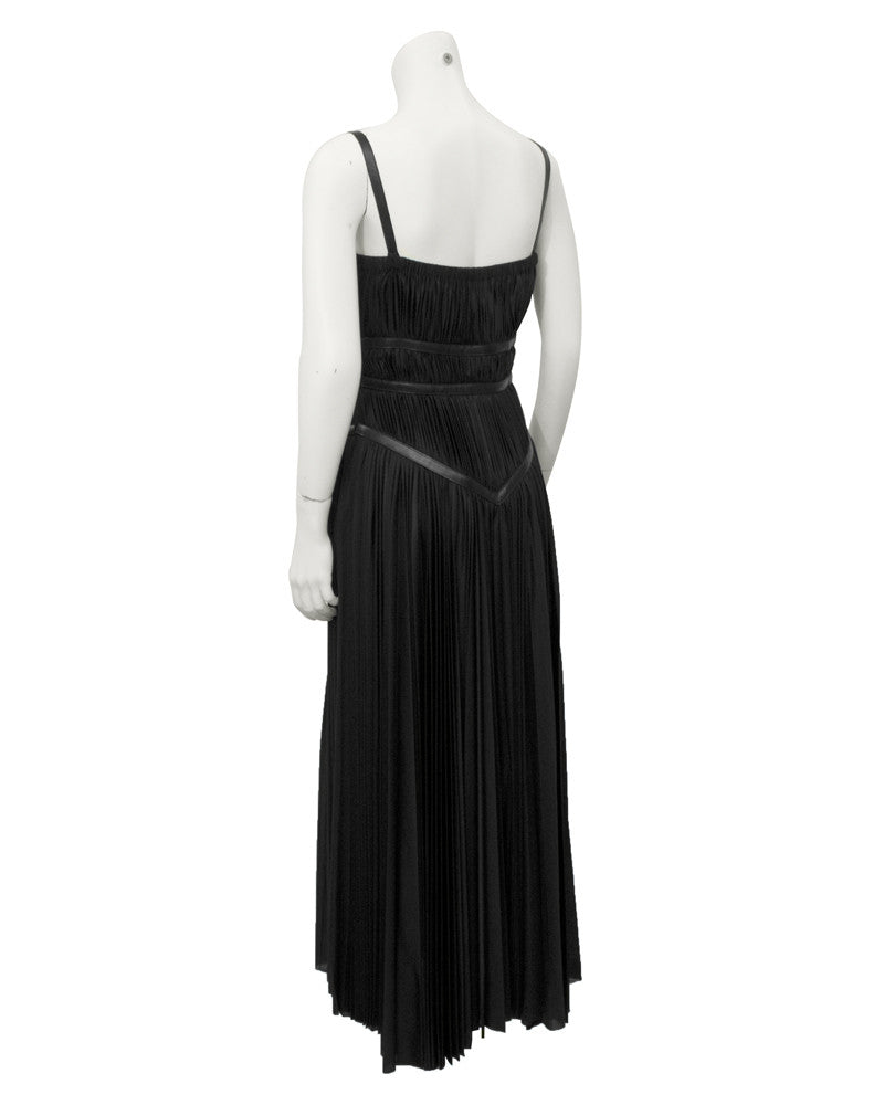 Black ruched dress with leather accents