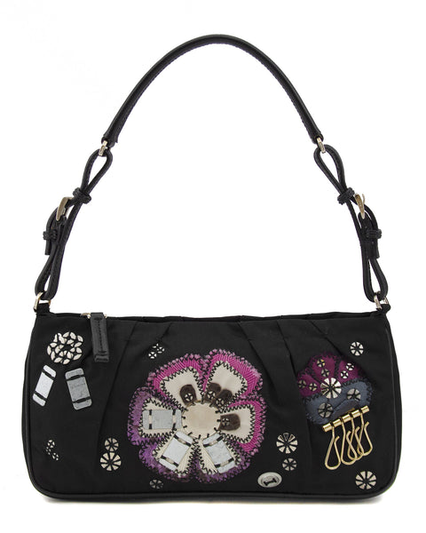 Black Tessuto Nylon Embellished Bag