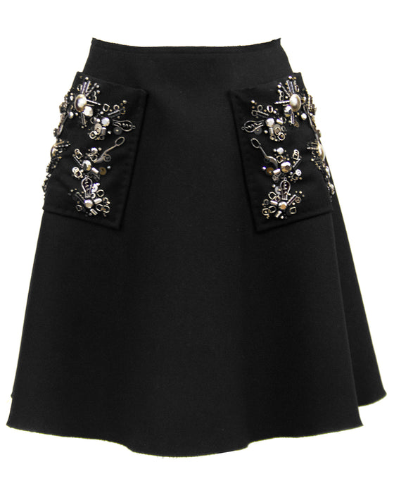 Black Hand Beaded Embellished Skirt