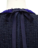 Blue Raw Edge Knit Tweed Skirt Suit