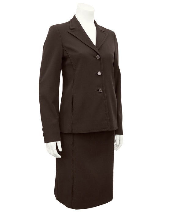 Brown Techno Fabric Skirt Suit