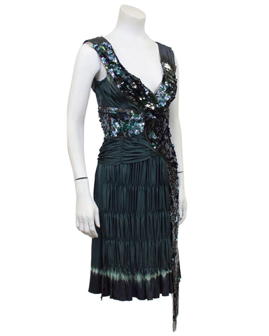 Grey Sequin & Ruched Pleated Cocktail Dress