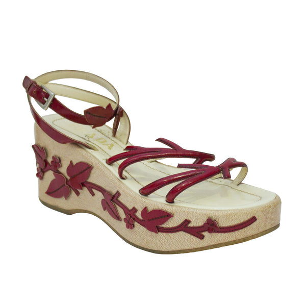 Red Leather Vine Leaf Platform Sandals