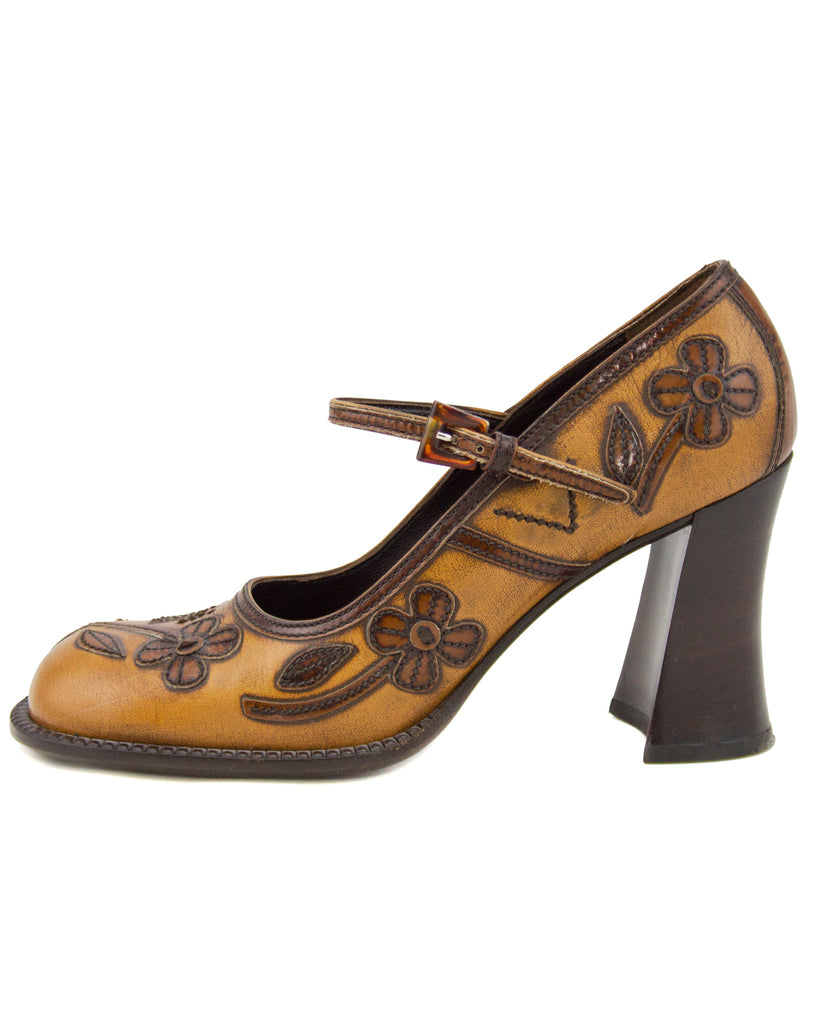 Appliqué Antiqued Leather Mary Janes