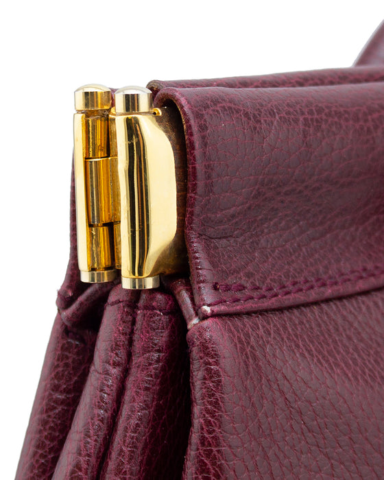 Maroon Leather Clutch with Small Handles