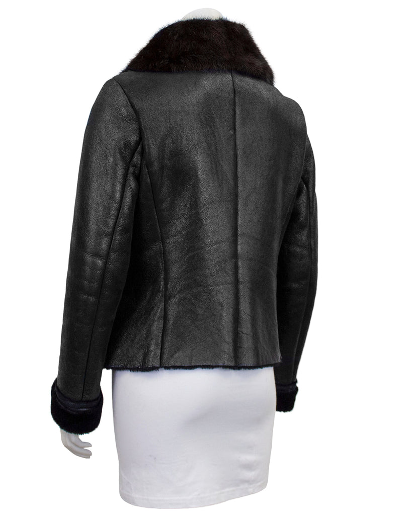 Black Fitted and Cropped Shearling Jacket