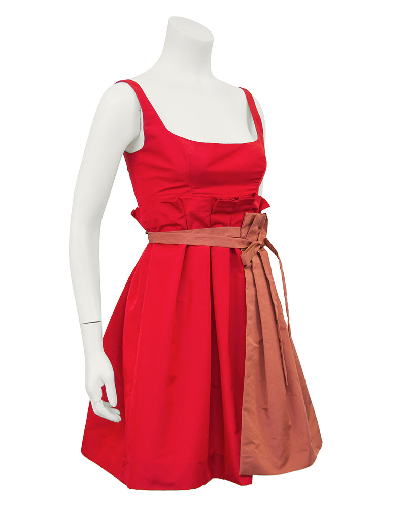 2005 Spring Ready-to-Wear Red Taffeta Cocktail Dress With Apron