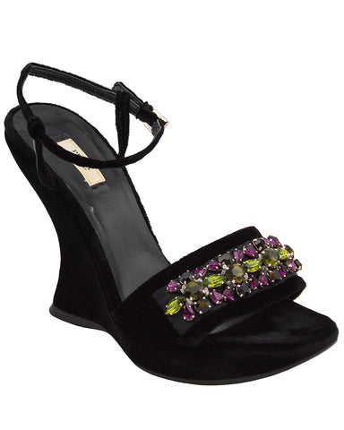 Fall 2004 Ready-to-Wear Black Velvet and Swarovski Crystal Wedges