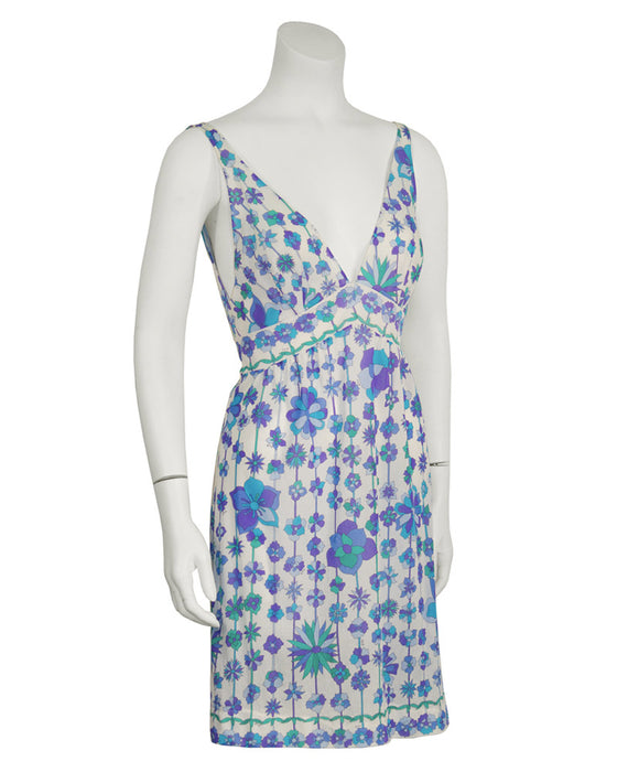 Blue and Purple Floral Print Nylon Slip Dresses (2)