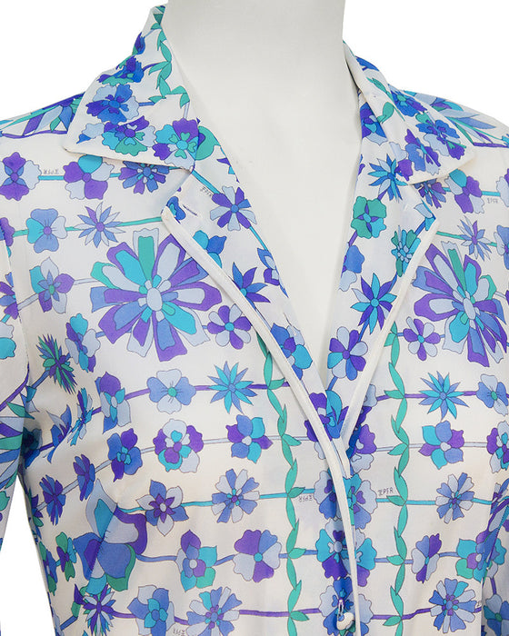 Blue and White Flower Print Cover Up