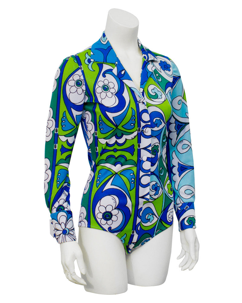 Blue & green printed ensemble