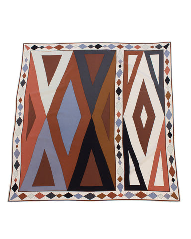 Brown and Gray Geometric Silk Scarf