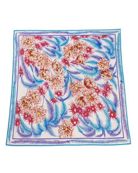 Feather and Flower Print Scarf