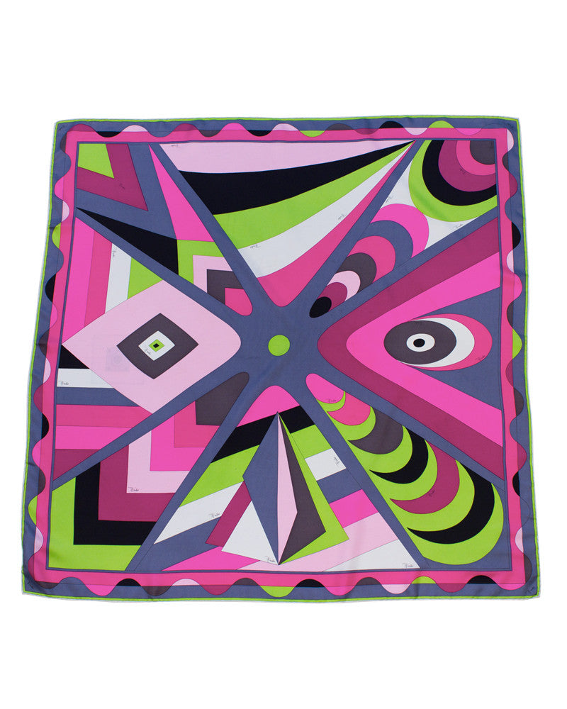 Purple and Lime Green Geometric Print Silk Scarf