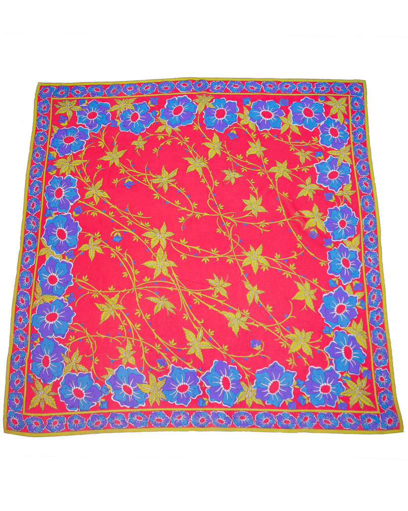 Coral, Purple and Green Floral Silk Chiffon Scarf