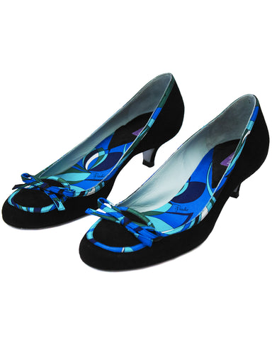 Black Kitten Heels With Print Trim