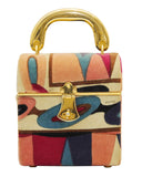 Pink and Purple Velvet Box Bag with Goldtone Handle