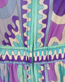Blue and Purple Hooded Maxi Cover-up