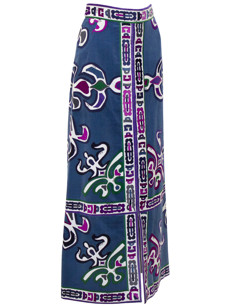 Blue Maxi Velvet Printed Skirt