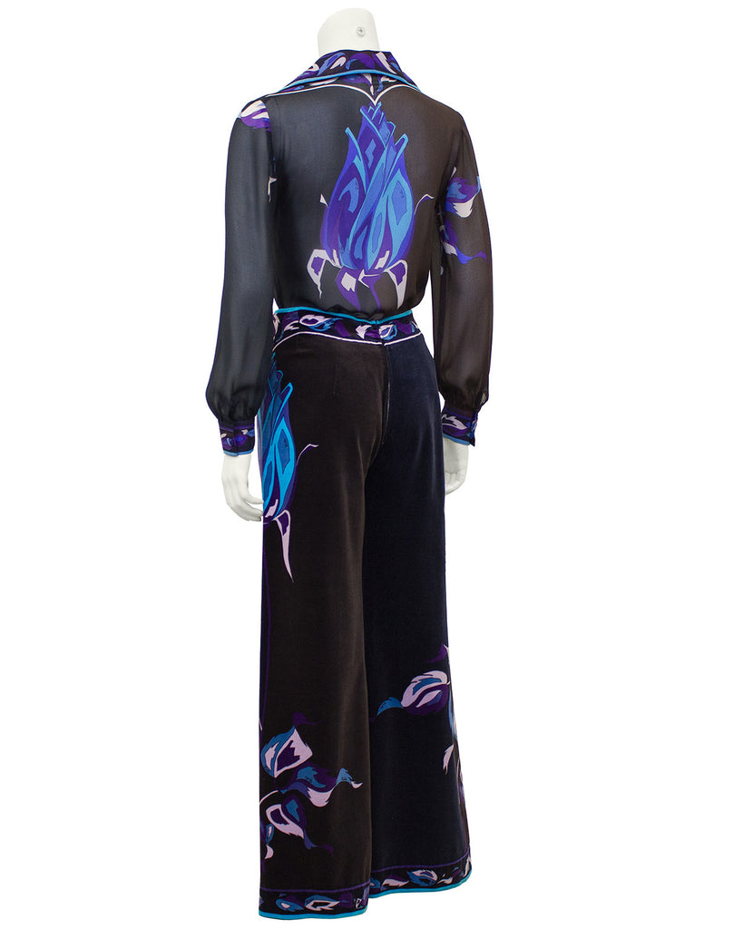 Brown, Blue & Purple Chiffon Blouse & Velvet Pant Ensemble
