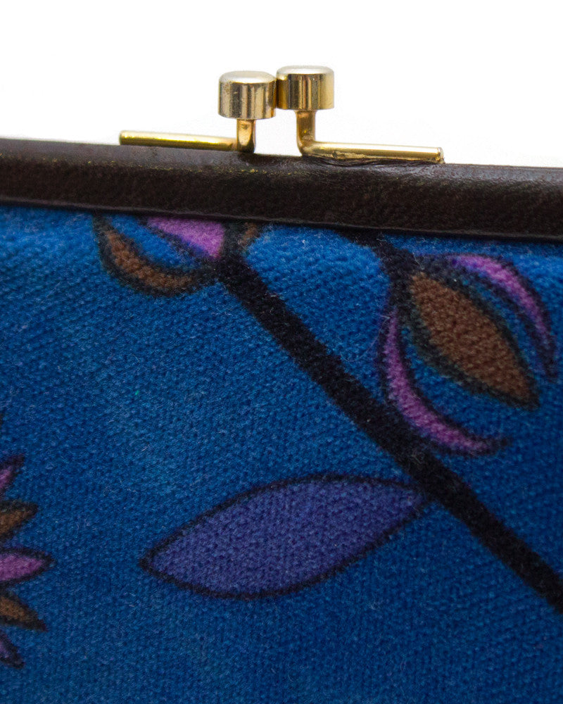 Brown and Blue Velvet Clutch
