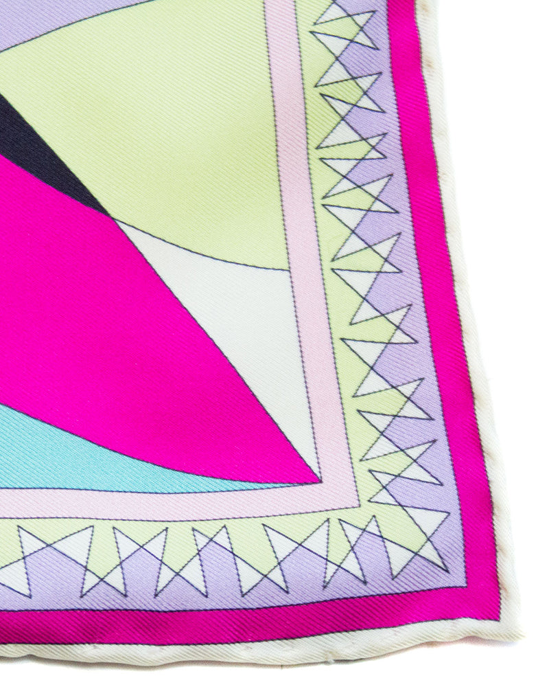 Pink, Purple and Chartreuse Printed Silk Mini Scarf