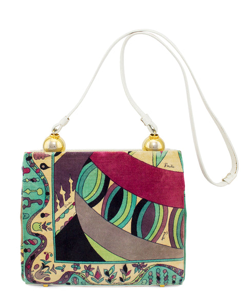 Velvet Printed Purse With White Leather Trim
