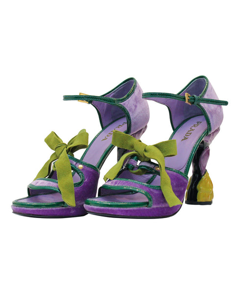 Purple velvet open-toe fairy flower heels