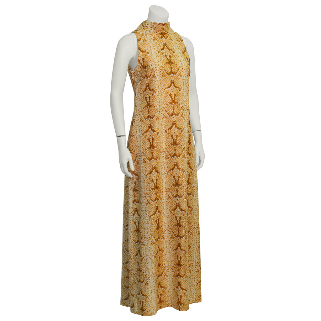 Copper Python Print Mock Neck Maxi Dress