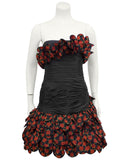Black and Red Strapless Cocktail Dress with Roses