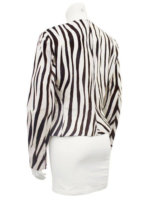White and Brown Flat Cow Hide Zebra Jacket