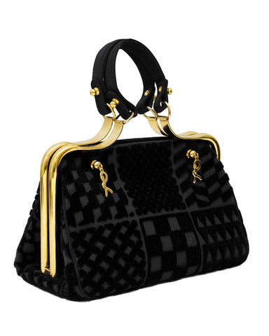 Black Cut Velvet Bag