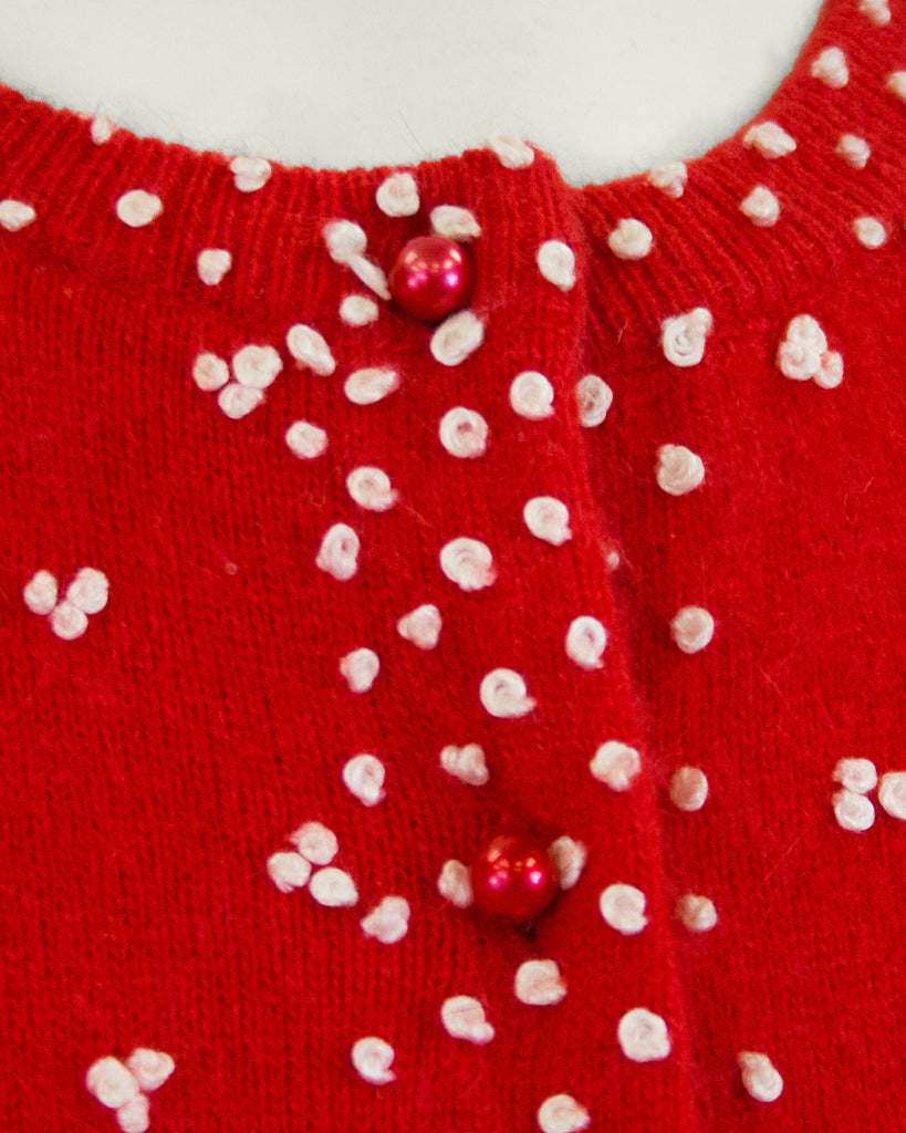 Red Knit Cardigan with French Knot Details