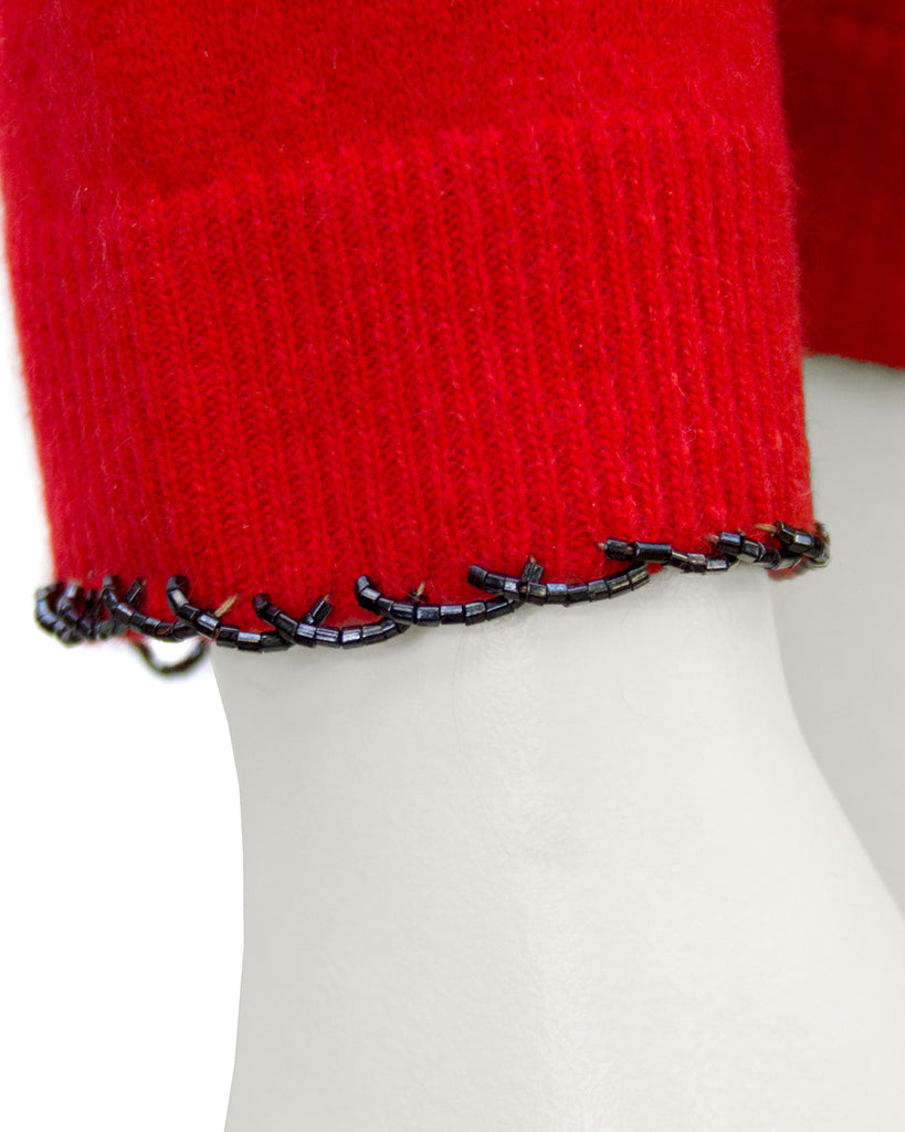 Red Cashmere Sweater with Black Beading
