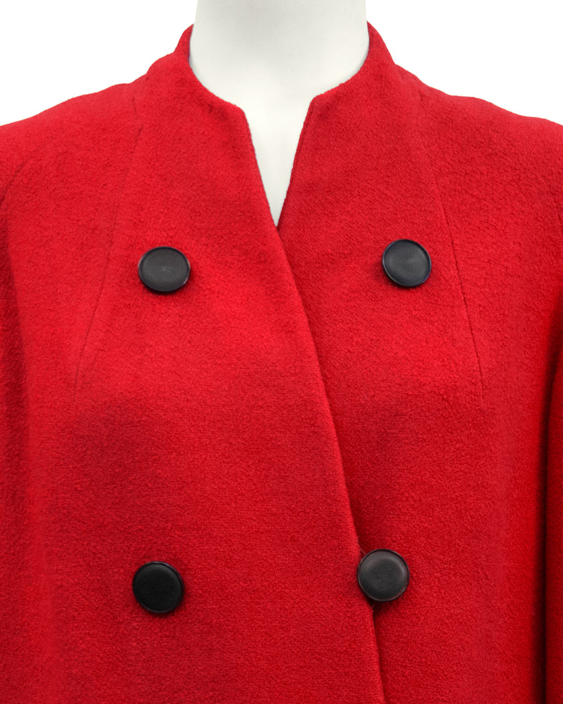 Red Wool Faux Double Breasted Coat