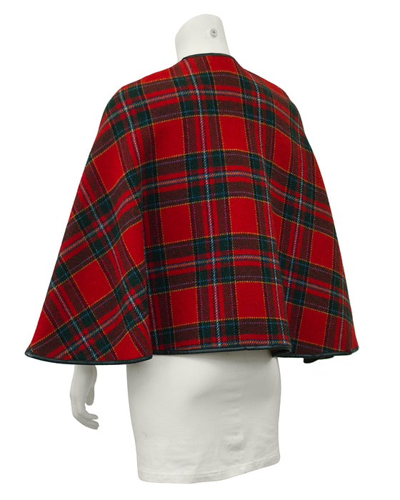 Reversible Plaid Wool Short Cape