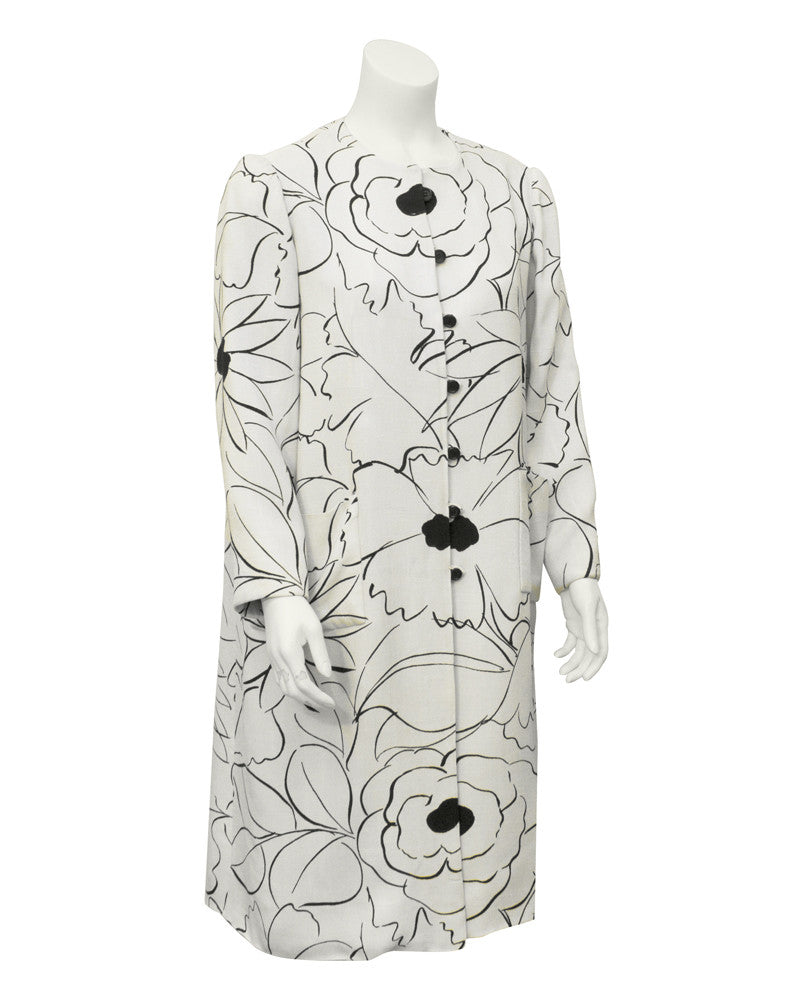 White & black floral print coat