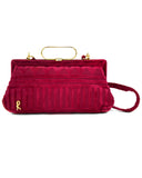 Raspberry Cut Velvet Bag